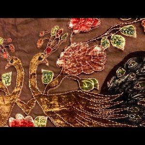 Accessories - Vtg. Peacock beaded Burnt Velvet Shawl/Runner.